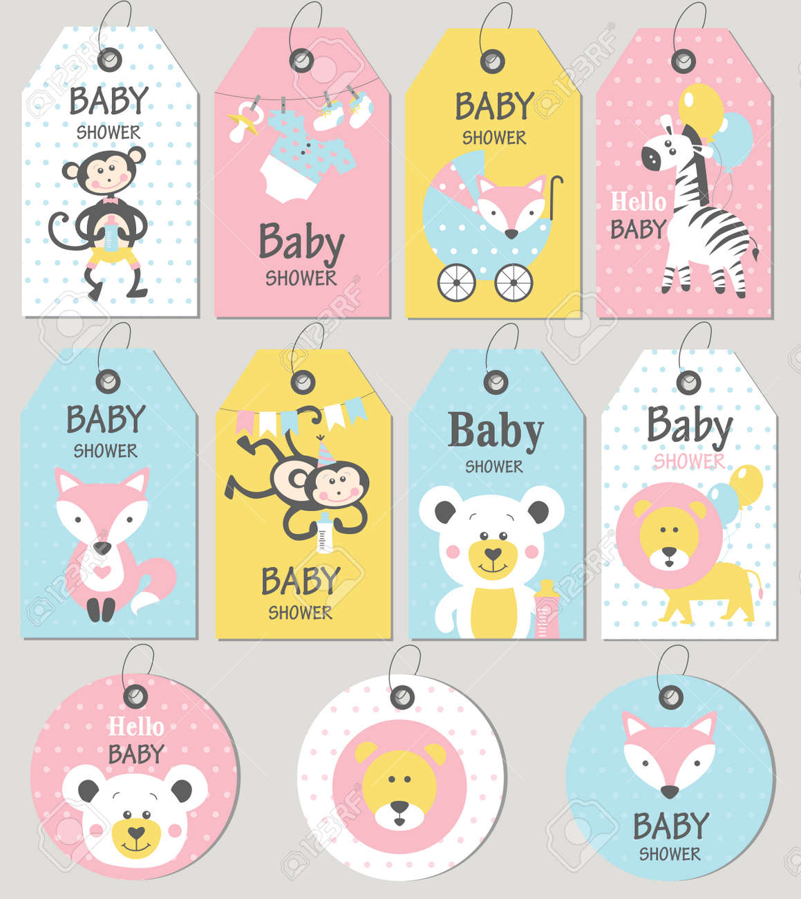 Gift tags and cards baby shower. Baby Arrival set. Vector illustration. - 75056074