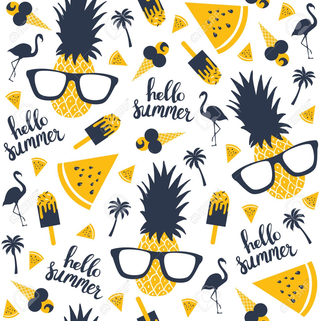 Summer pattern. Watermelon, pineapple. Vector illustration - 79090663