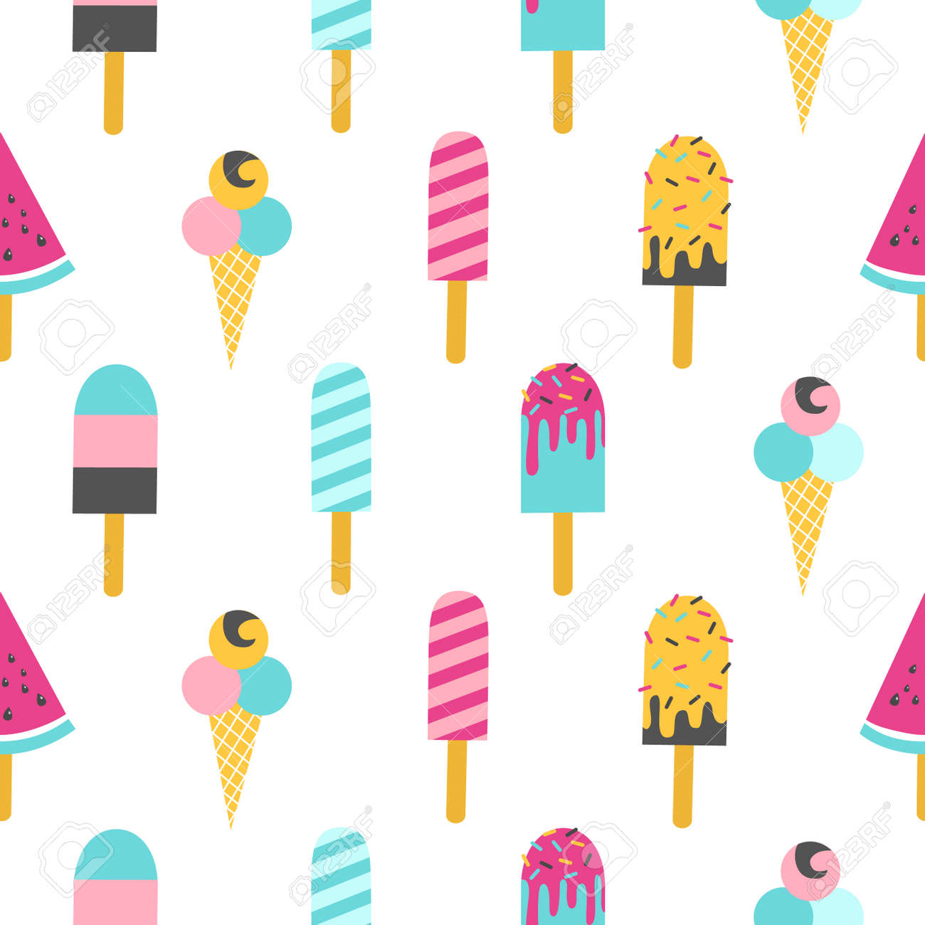 Ice cream seamless pattern on a white background. Vector illustration - 83492934
