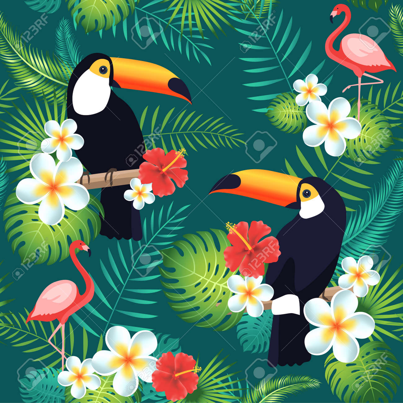Tropical seamless pattern with toucans, flamingos, exotic leaves and flowers. Vector illustration - 83492959
