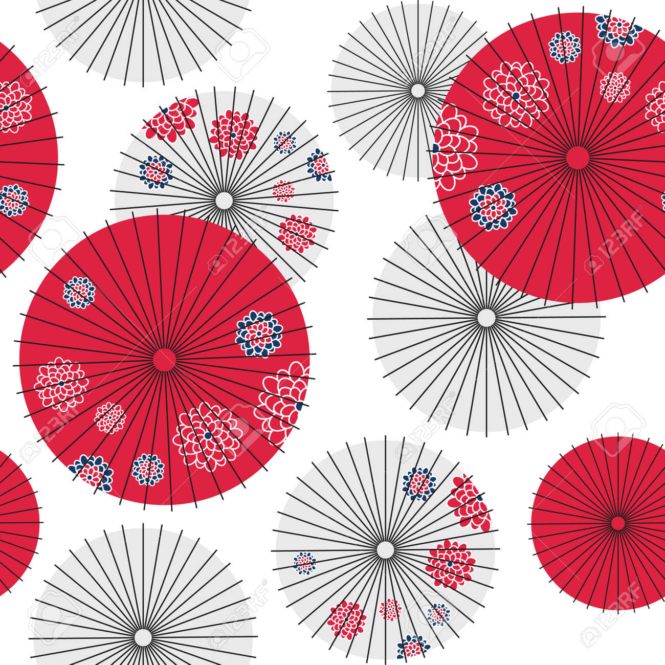 Japanese umbrella seamless pattern. Vector Illustration - 83492969