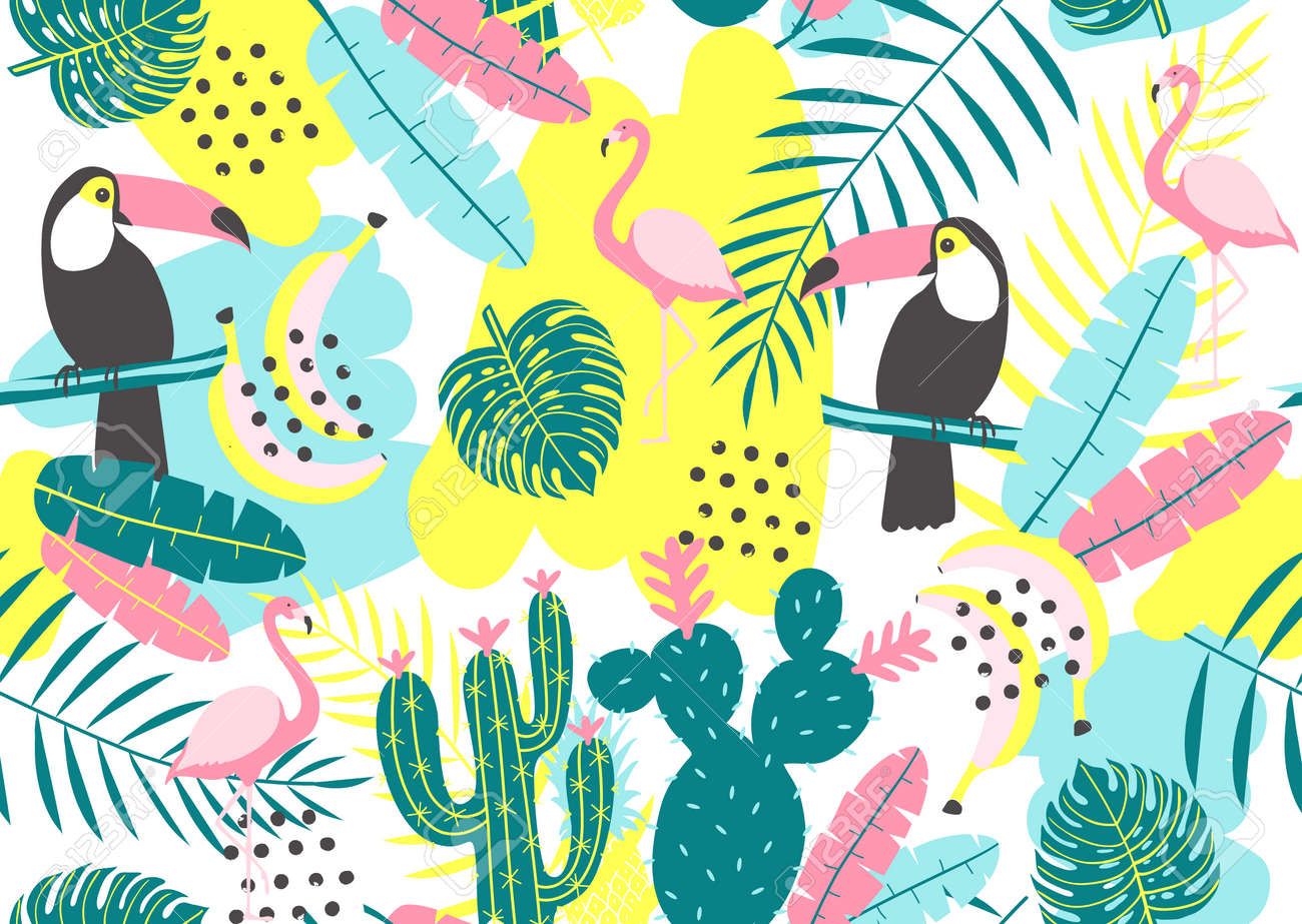 Tropical seamless pattern with toucan, flamingos, cactuses and exotic leaves. Vector illustration - 84522537