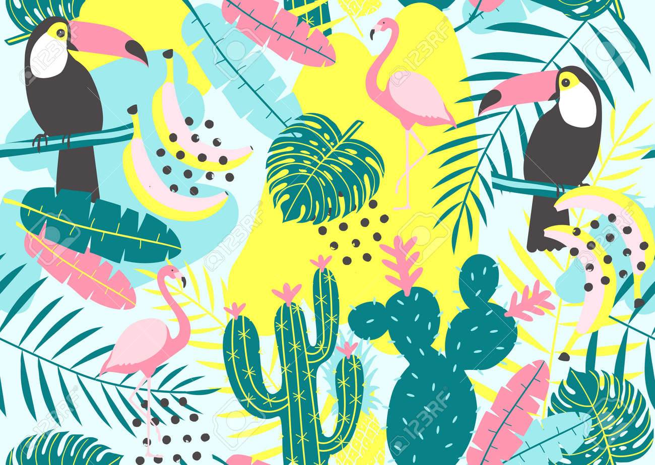 Tropical seamless pattern with toucan, flamingos, cactuses and exotic leaves. Vector illustration - 84522544