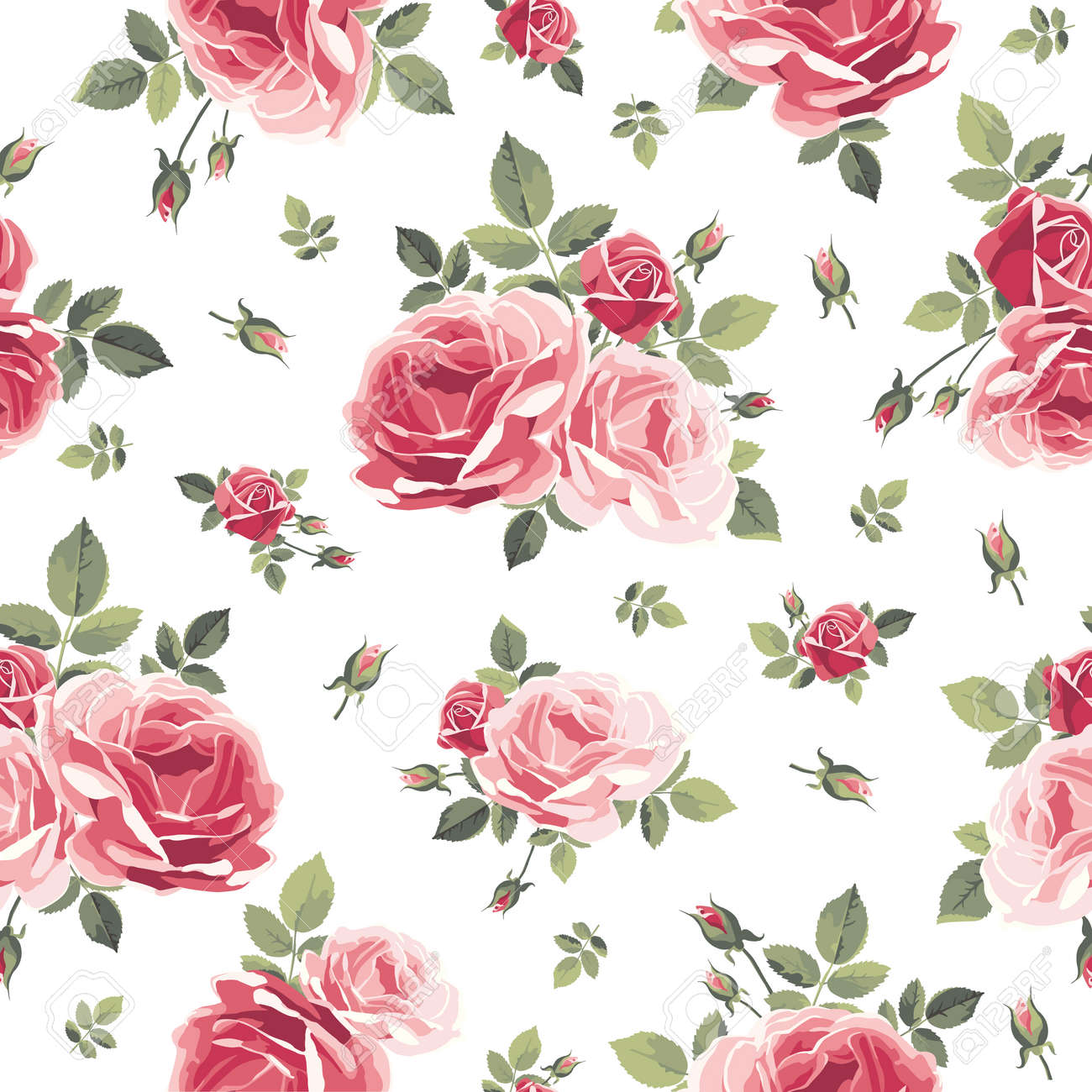Pattern With Roses Vintage Floral Illustration Royalty Free