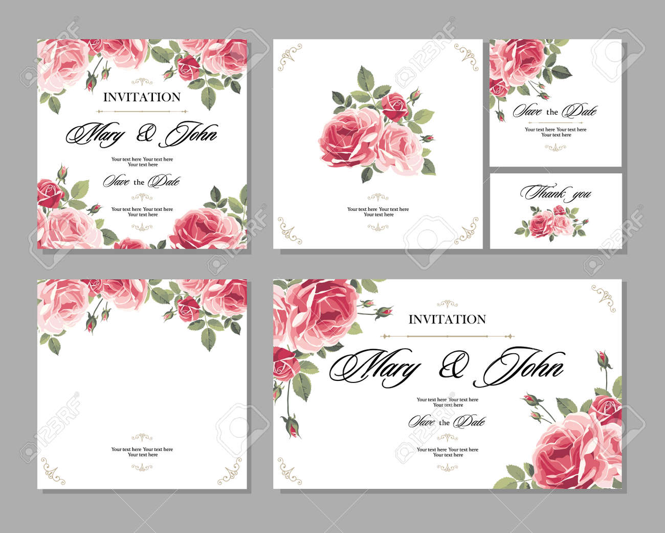 Set wedding invitation vintage card with roses and antique set wedding invitation vintage card with roses and antique decorative elements vector illustration stock vector stopboris Gallery
