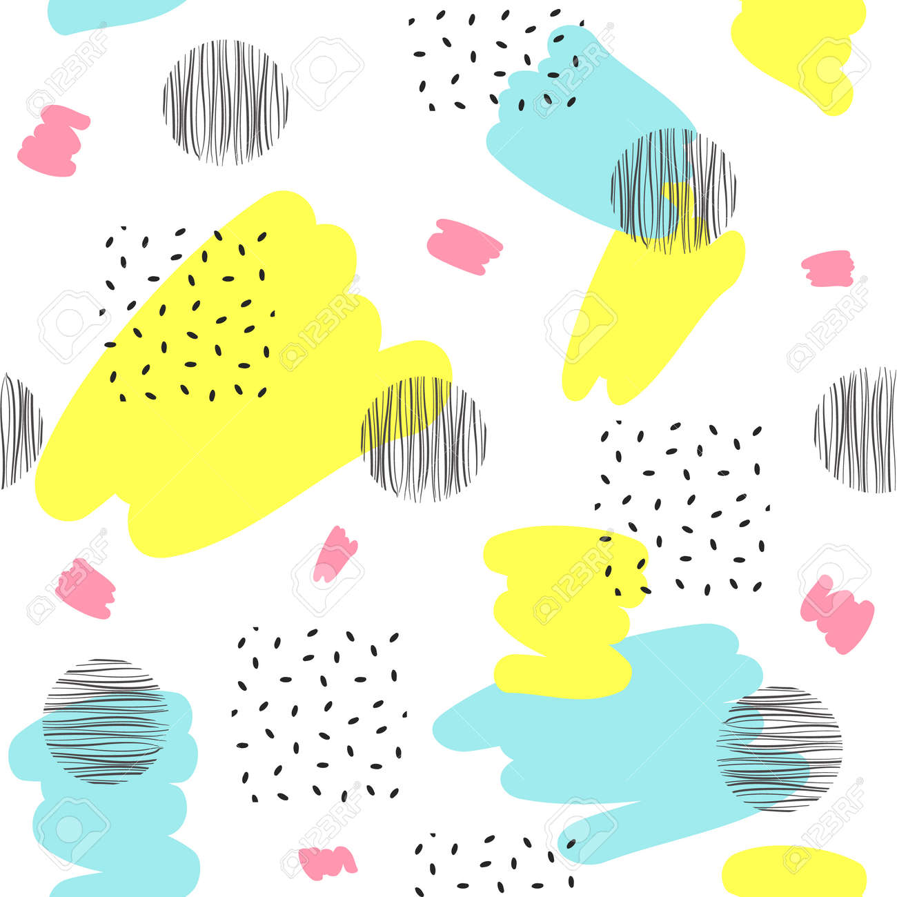 Abstract seamless patterns with black and color dots, spots. Vector illustration - 88355201