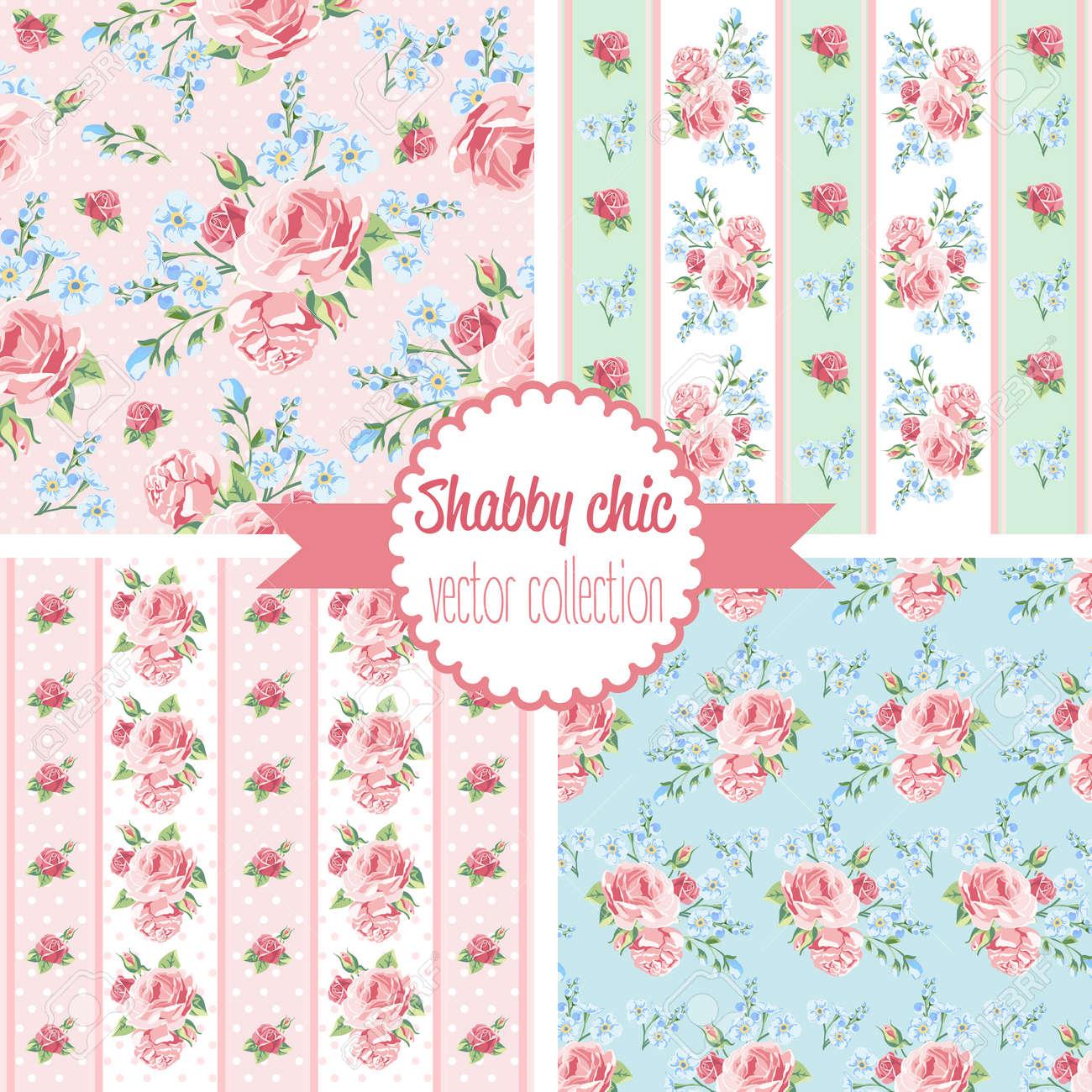 Shabby Chic Rose Patterns Set Seamless Pattern Vintage Floral