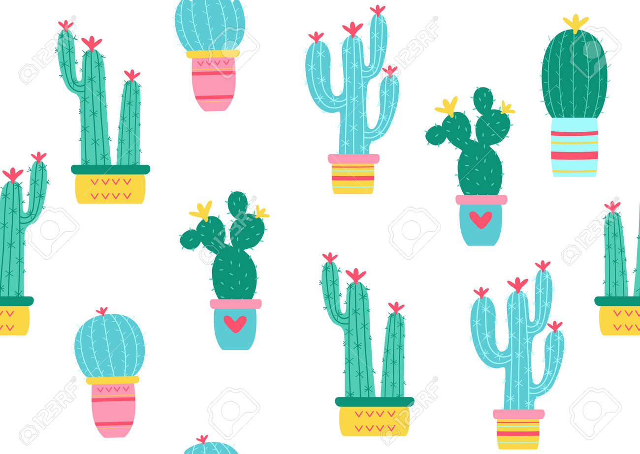 Cactuses seamless pattern. Vector illustration - 88355203