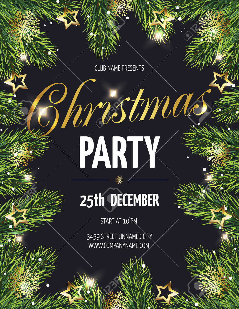 Ð¡hristmas party poster with fir branches. Vector illustration eps 10 - 91171935