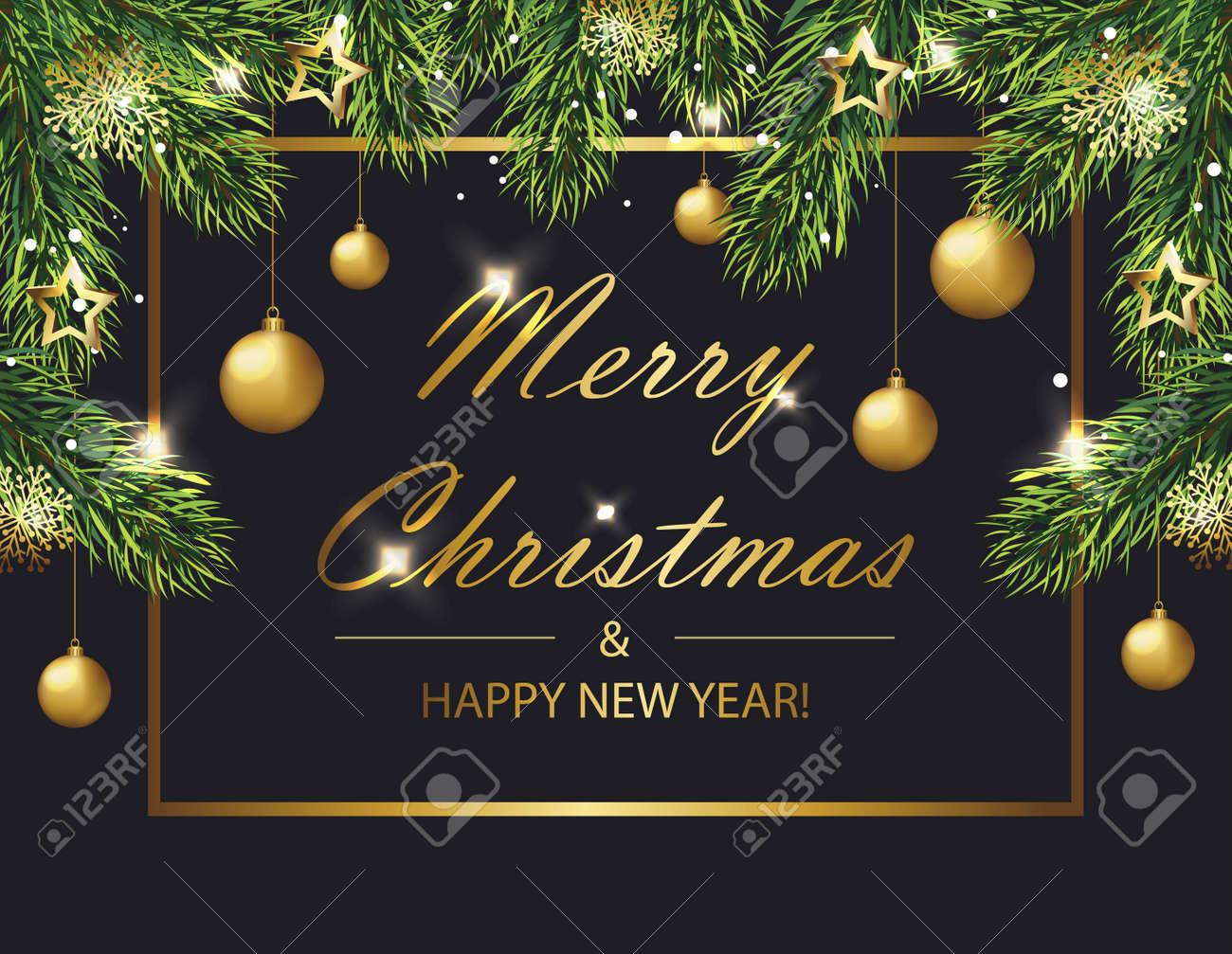 Carte De Noël Et Du Nouvel An Avec Des Branches De Sapin Et Des
