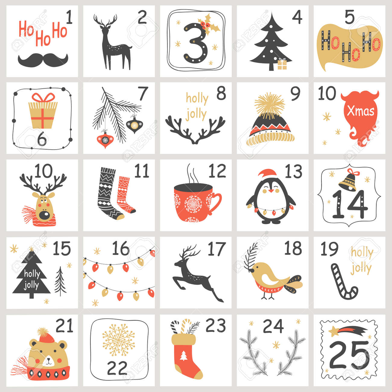 Christmas Advent calendar with hand drawn elements. Xmas Poster Vector illustration - 91833505