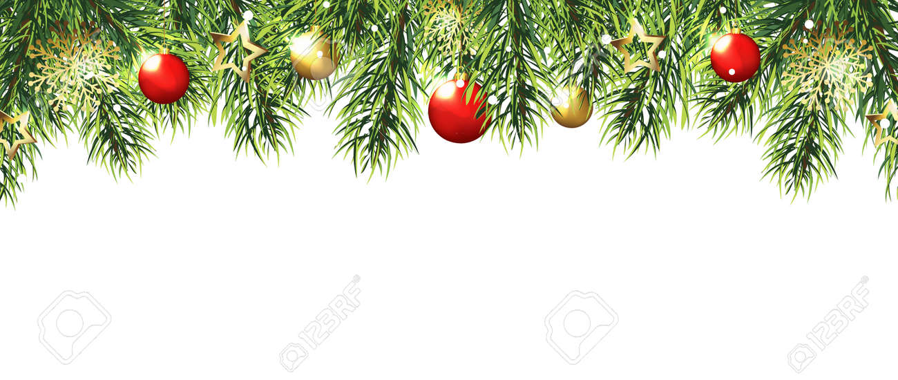 Christmas border with trees, red and gold balls and stars isolated on white background. Vector illustration eps 10 - 91833506