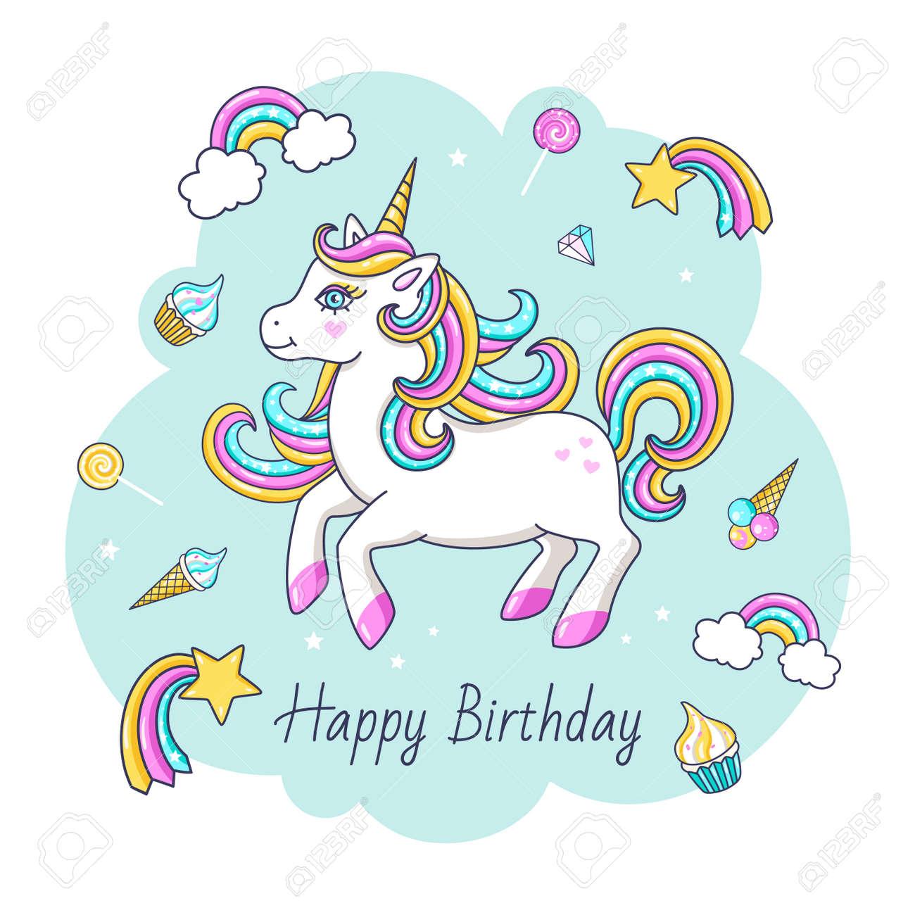 Happy Birthday Card With Cute Unicorn Vector Illustration Royalty