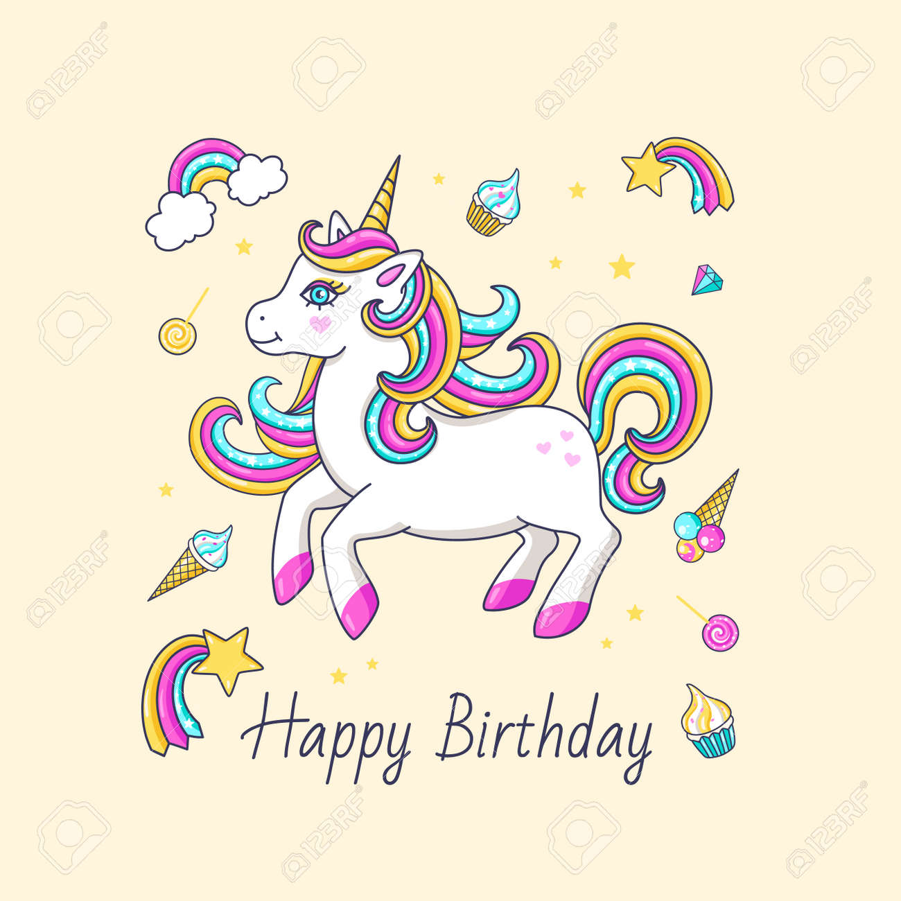 Happy Birthday Card With Cute Unicorn Vector Illustration Stock