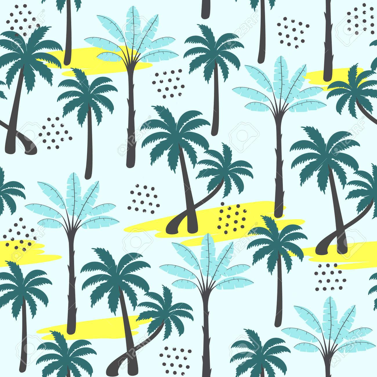 Palm tree seamless pattern on light background. Vector illustration. - 96683400