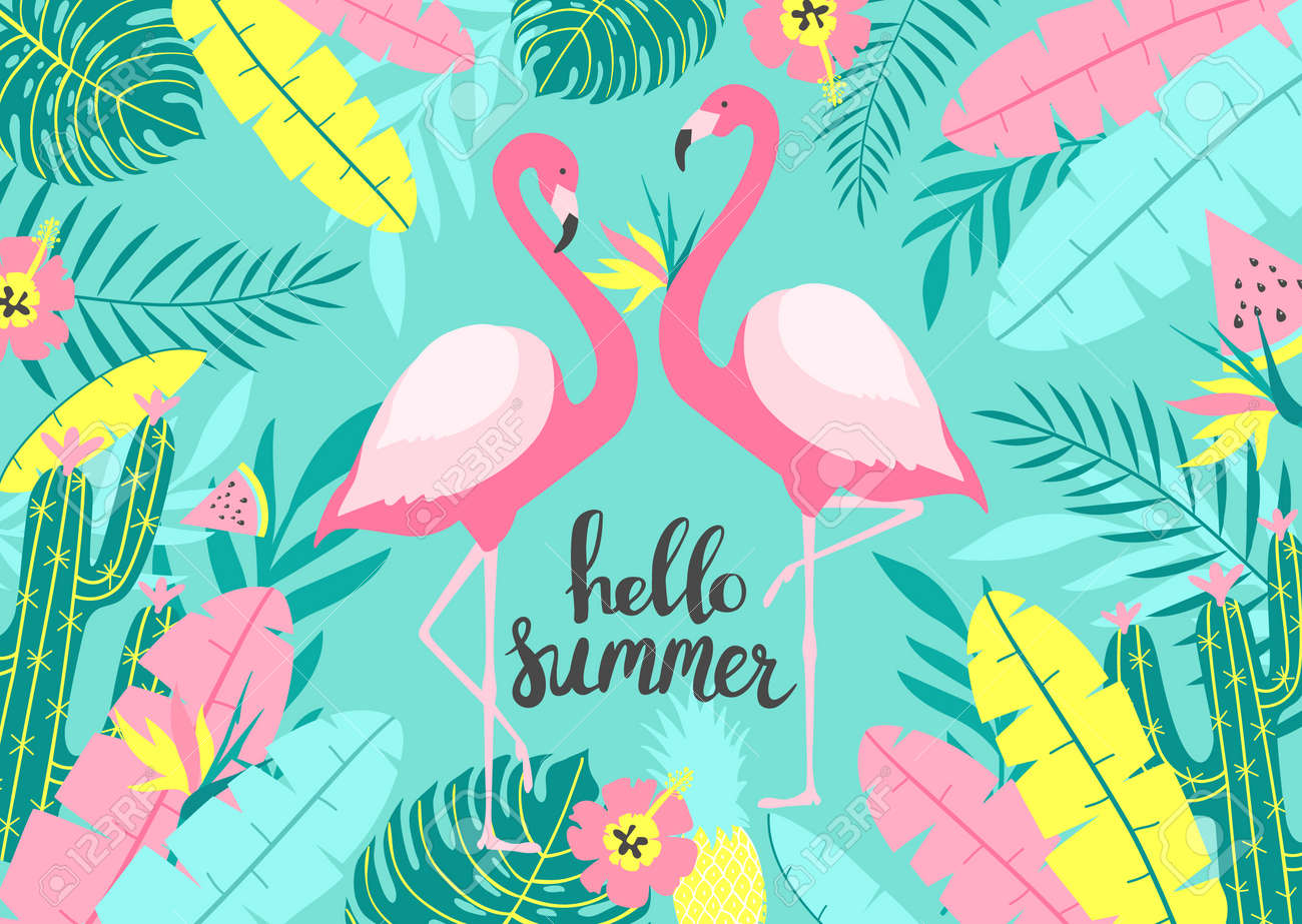 Tropical background with of two cute flamingos with inscription - Hello Summer. For print design. Vector Illustration - 98785303