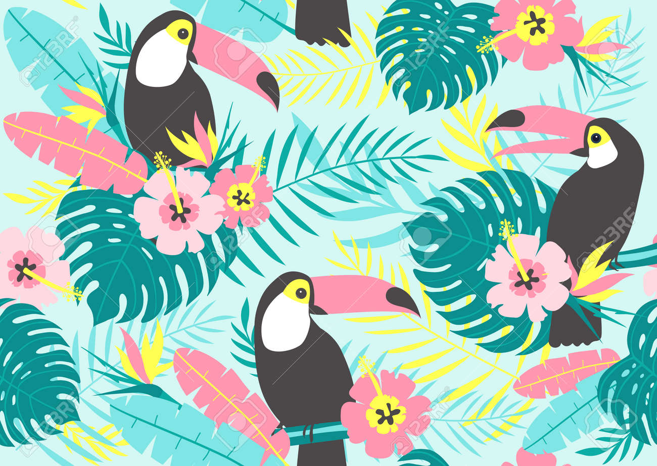 Tropical seamless pattern with toucans, exotic leaves and flowers. Vector illustration - 98786417