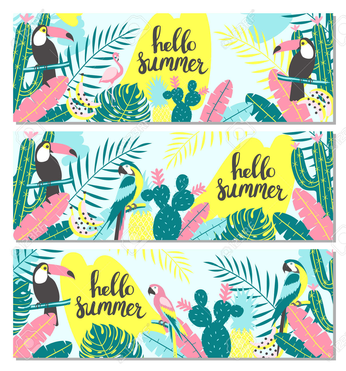 Set of tropical banner with toucan, flamingos, parrot, cactuses and exotic leaves. Vector illustration - 103286692