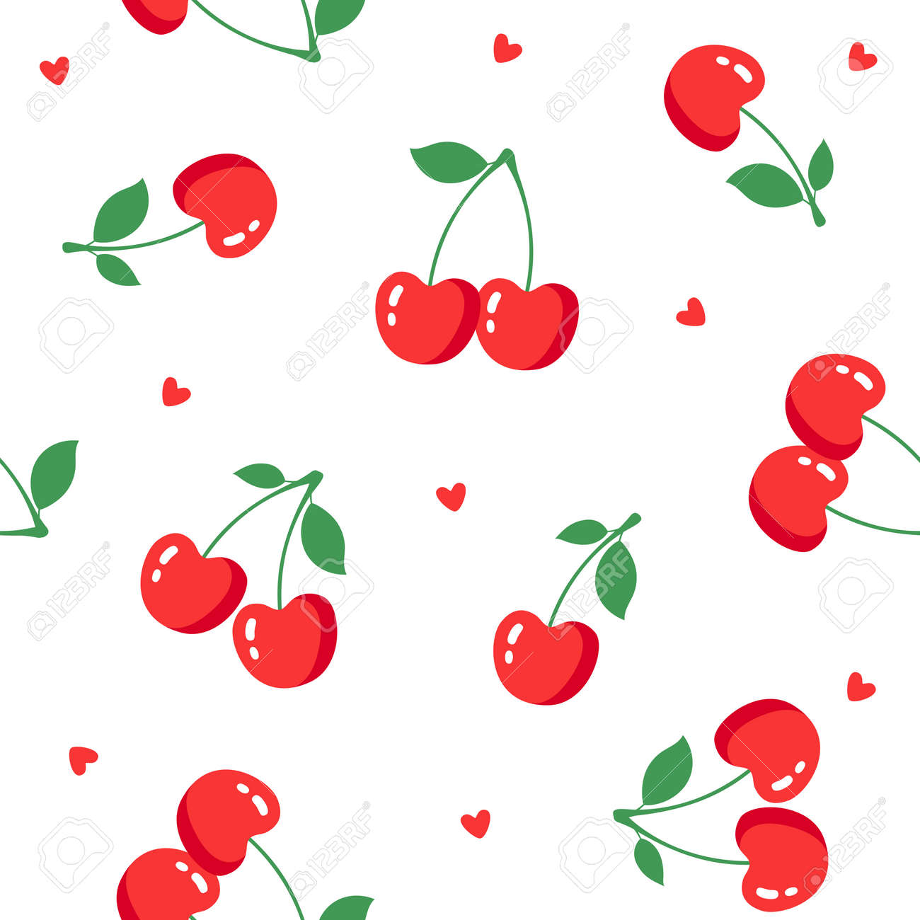 Seamless pattern with cherries on white background. Vector illustration - 115034066