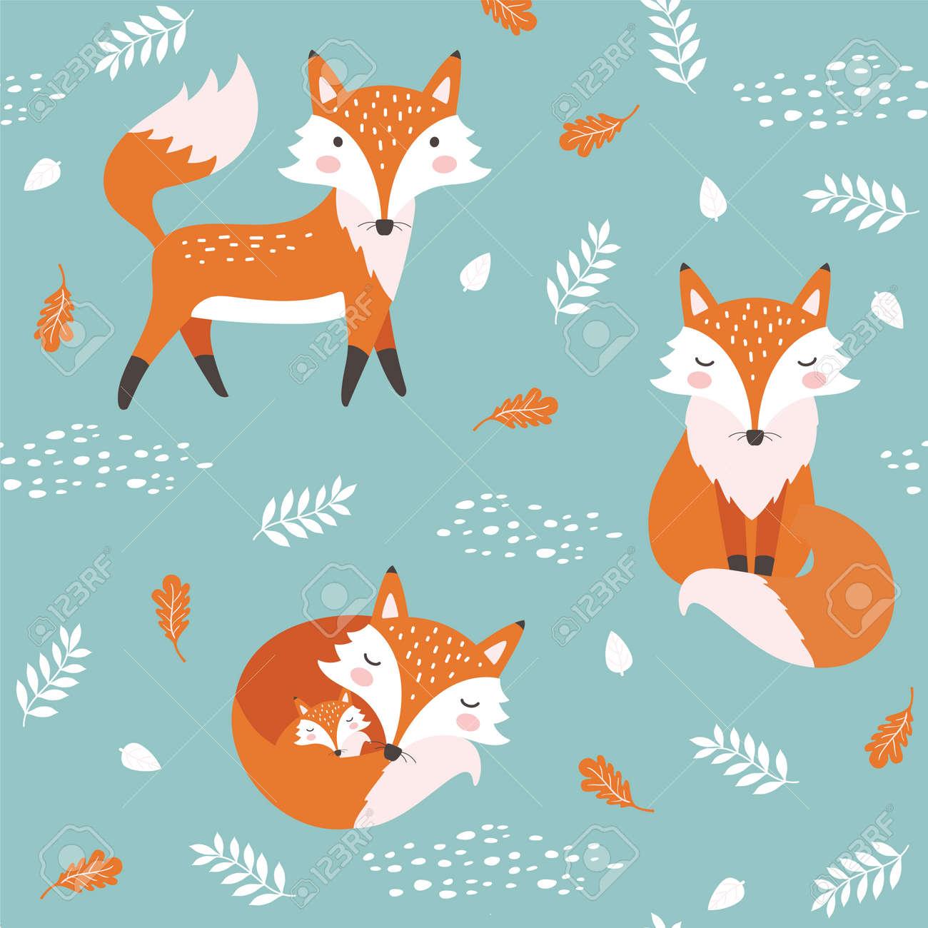 Seamless pattern with cute fox. Childish print. Vector illustration - 110341510