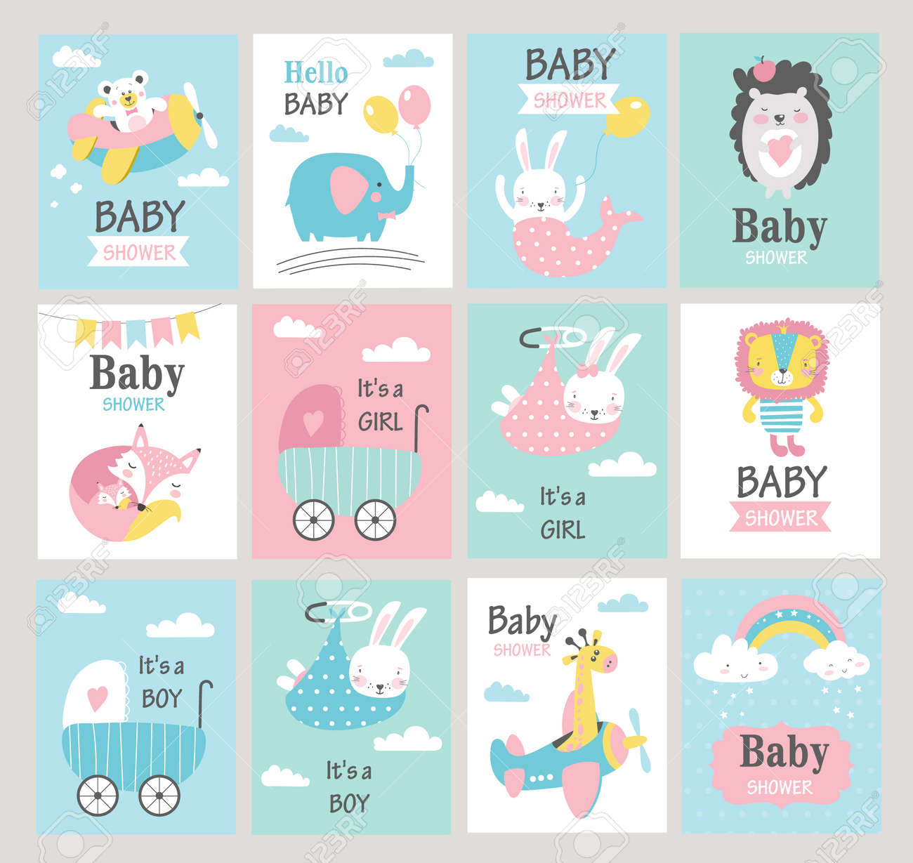 Set of baby shower cards with cute animals. Vector illustrations - 107792654