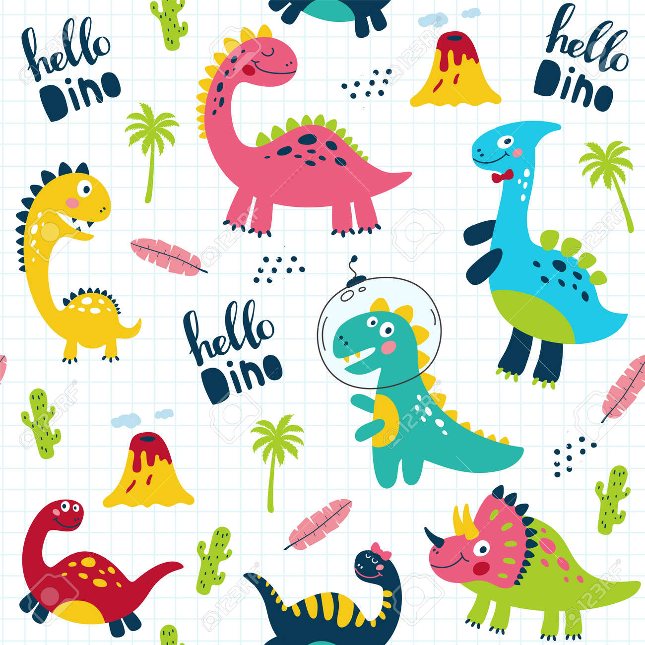 Seamless pattern with cute dinosaurs for children print. Vector illustration - 110041526