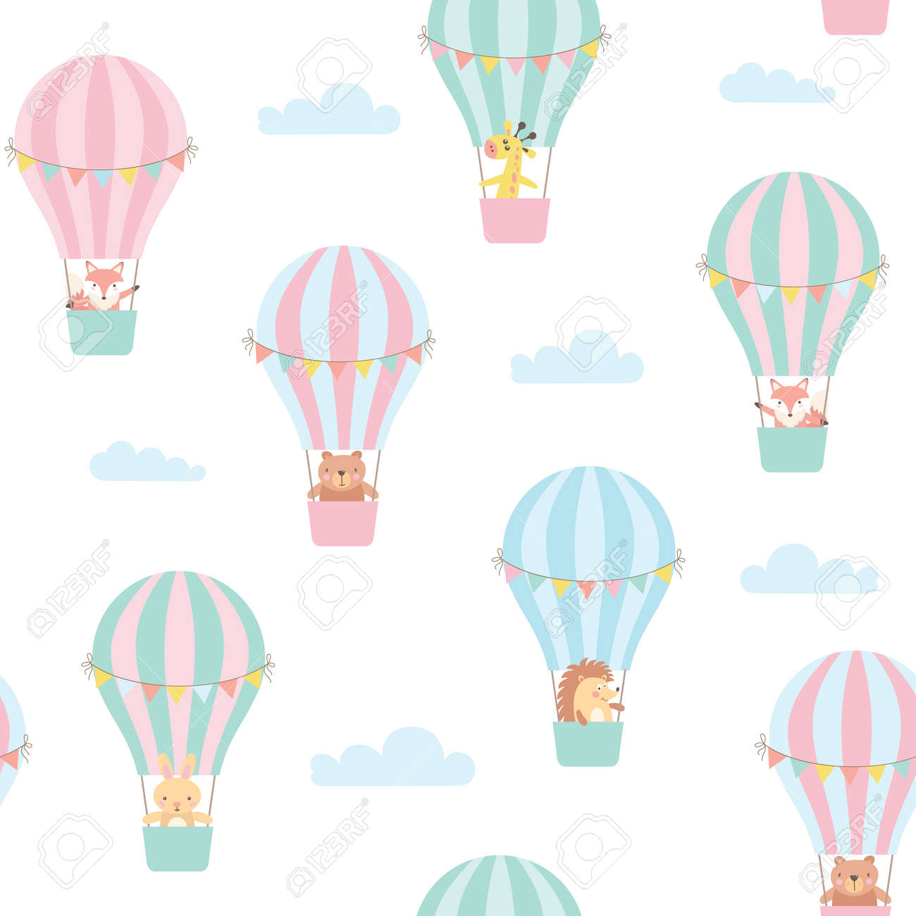 Seamless pattern with cute animals in a hot air balloon. Vector illustration - 108131272