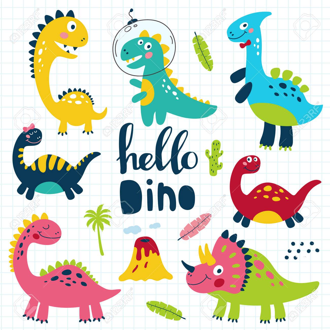 Set of cute dinosaurs for children print. Vector illustration - 108131279
