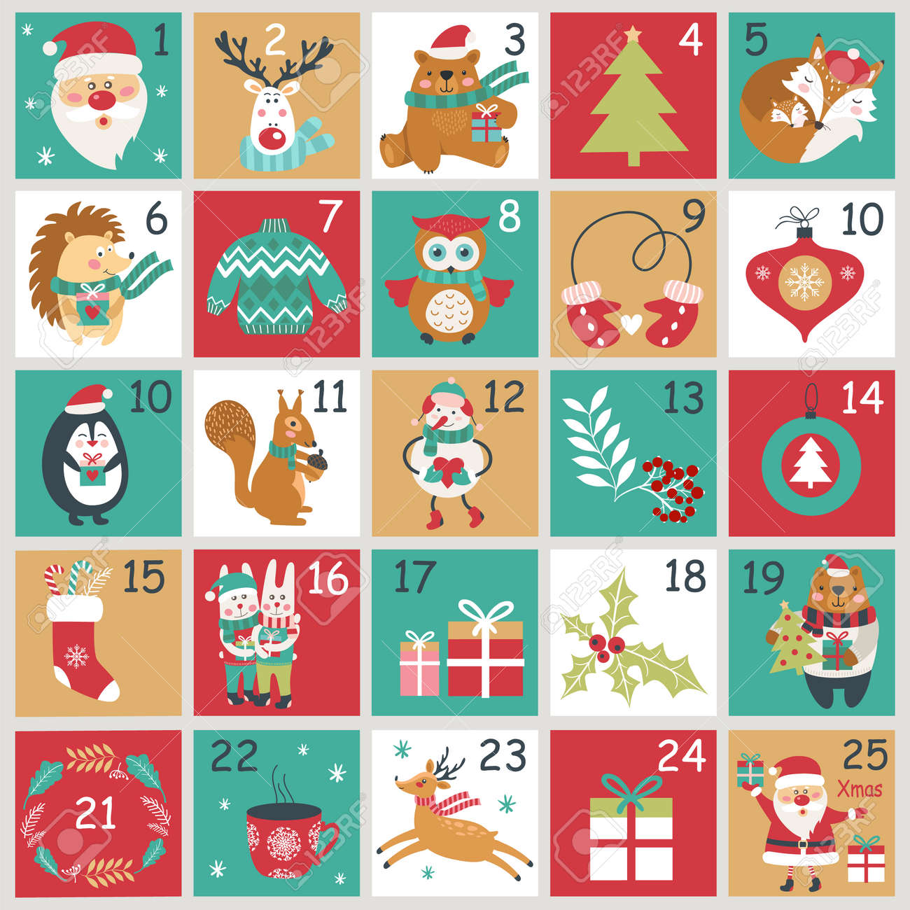 Christmas Advent Calendar.Christmas Advent Calendar With Hand Drawn Elements Xmas Poster