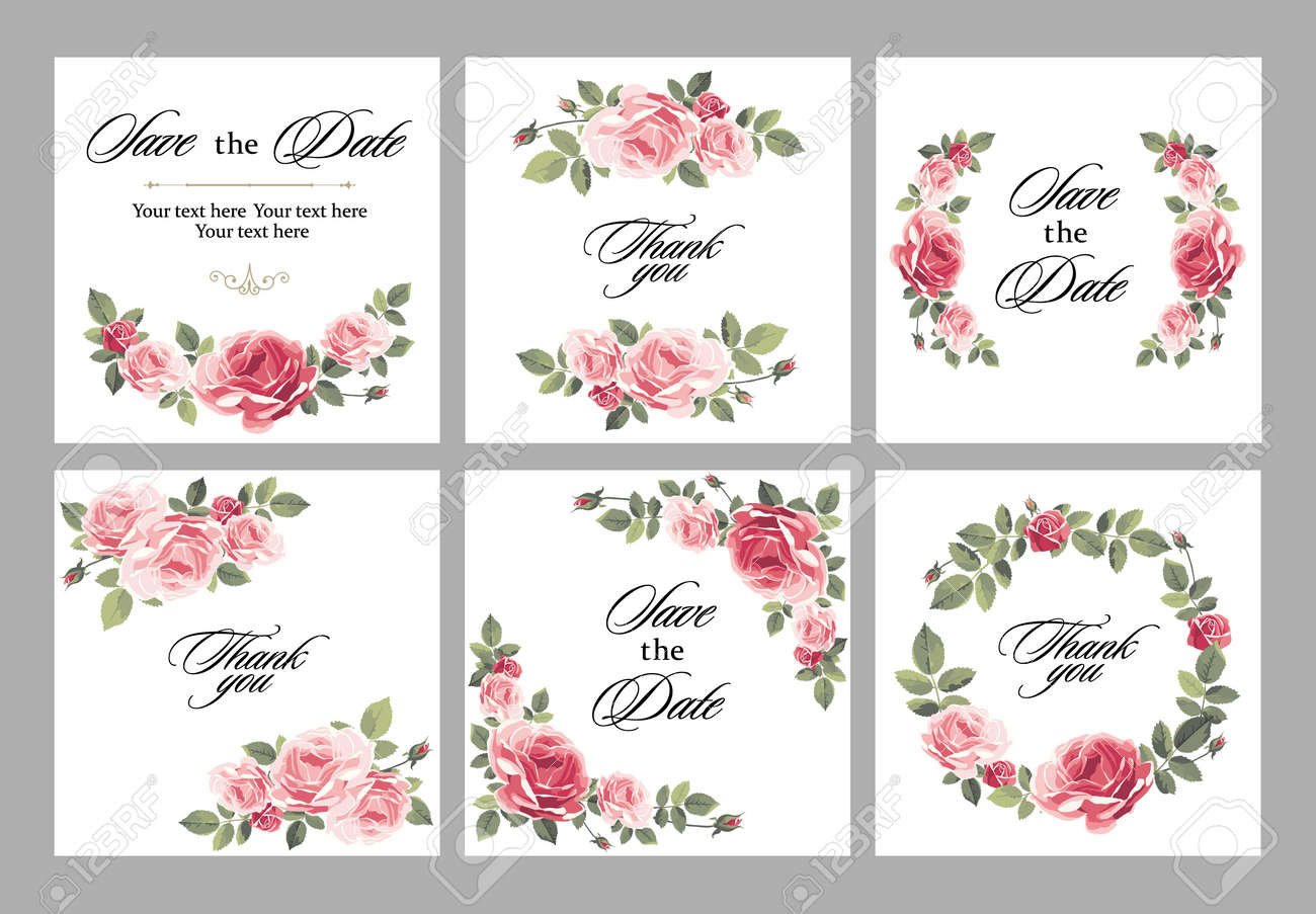 Set invitation vintage card with roses and antique decorative elements. Vector illustration - 109742191