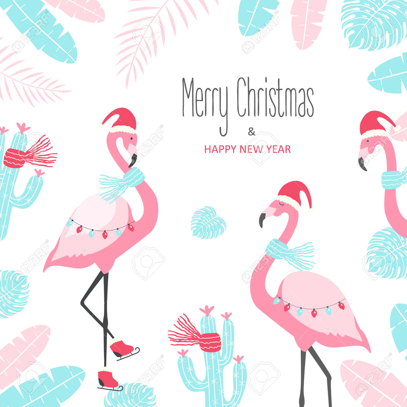Christmas Card With Cute Flamingo On A White Background. Vector ...