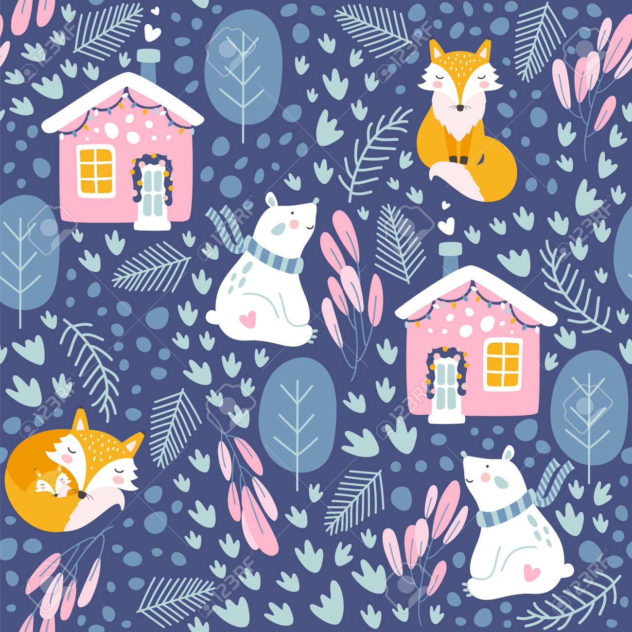 Winter seamless pattern with bear and fox. Vector illustrations - 127618000