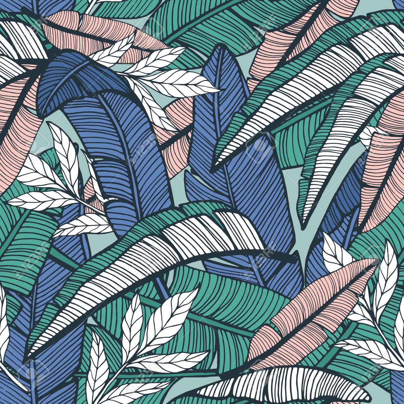 Seamless tropical pattern with banana leaves. Hand drawn vector illustration - 127429761