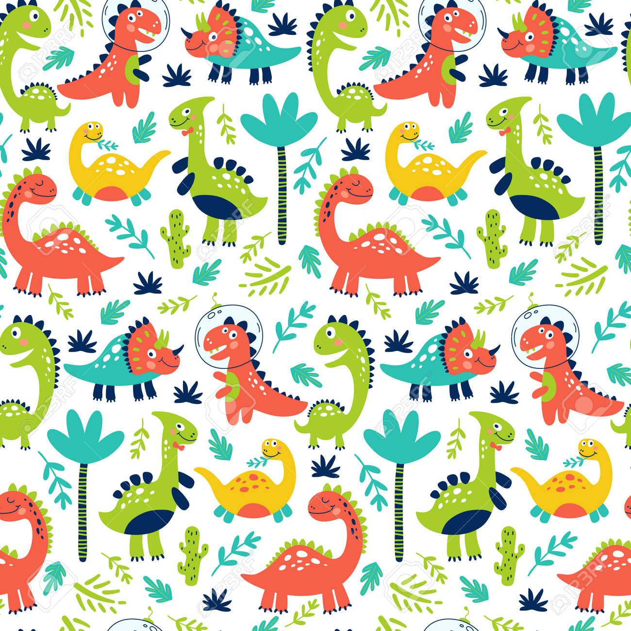 Seamless pattern with cute dinosaurs for children print. Vector illustration - 124921500