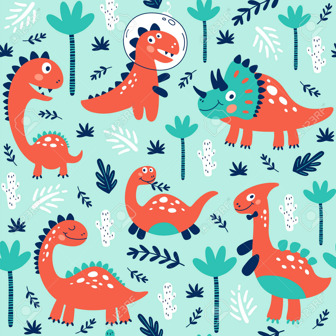 Seamless pattern with cute dinosaurs for children print. Vector illustration - 124921502