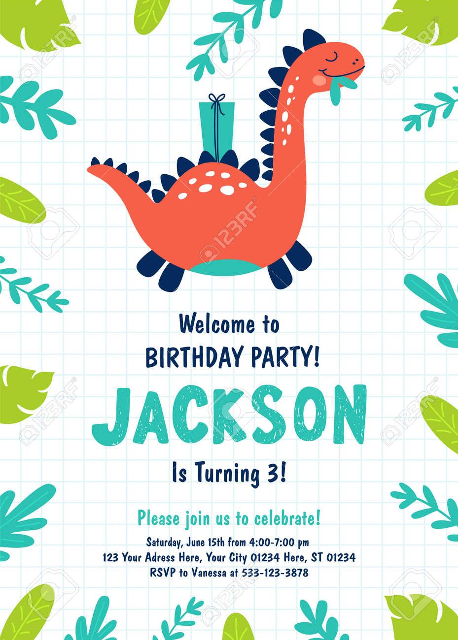 Dinosaur Birthday Party Invitation. Vector illustrations - 119675837