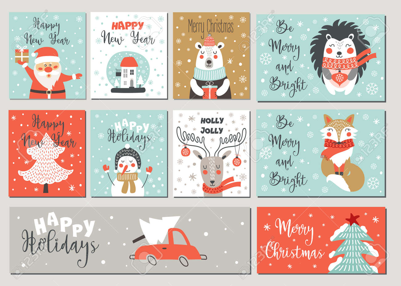 Merry Christmas and Happy New Year greeting card set with hand drawing elements. Vector illustrations - 131408414