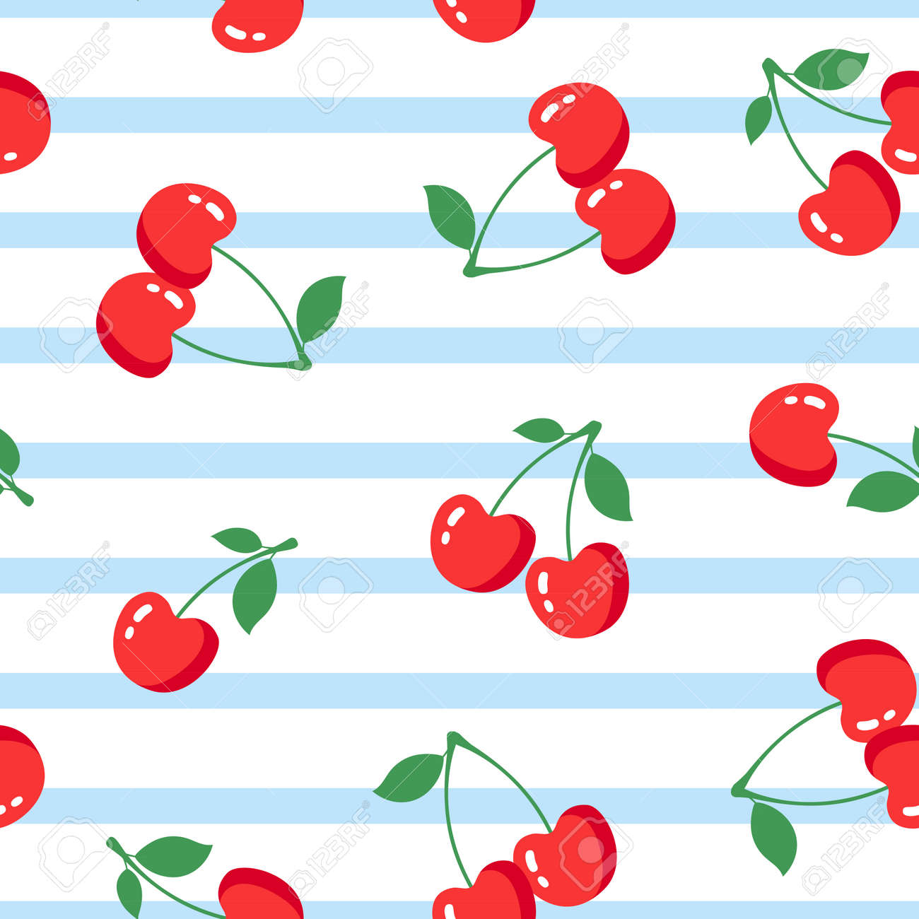 Seamless pattern with cherries on white background. Vector illustration - 171630098