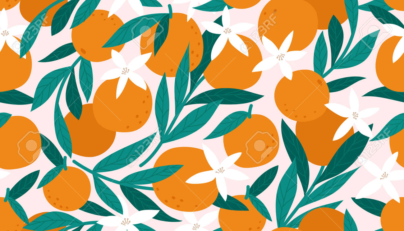Seamless pattern with oranges. Vector illustration - 171630100
