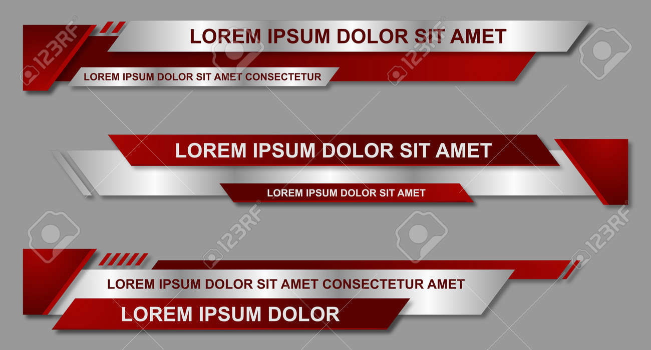 Modern geometric lower third banner template design. Colorful lower thirds set template vector. Vector illustration - 166953962