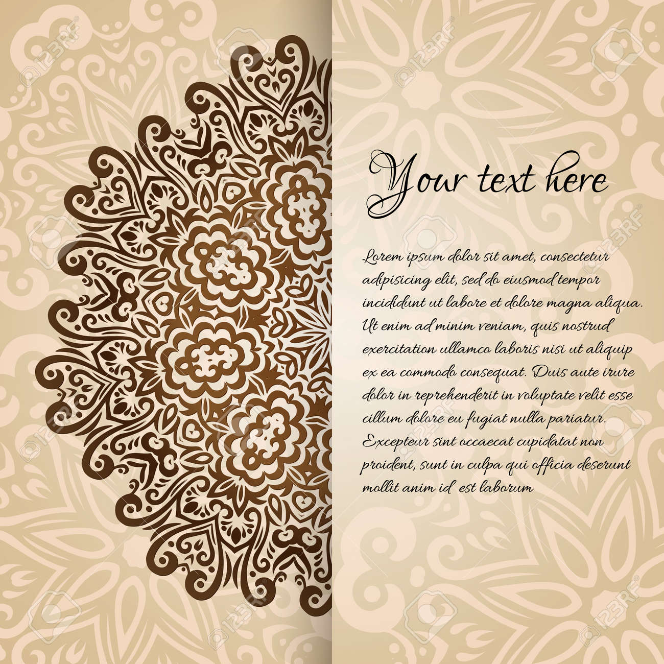 Lacy Vector Wedding Card Template Romantic Vintage Wedding Invitation