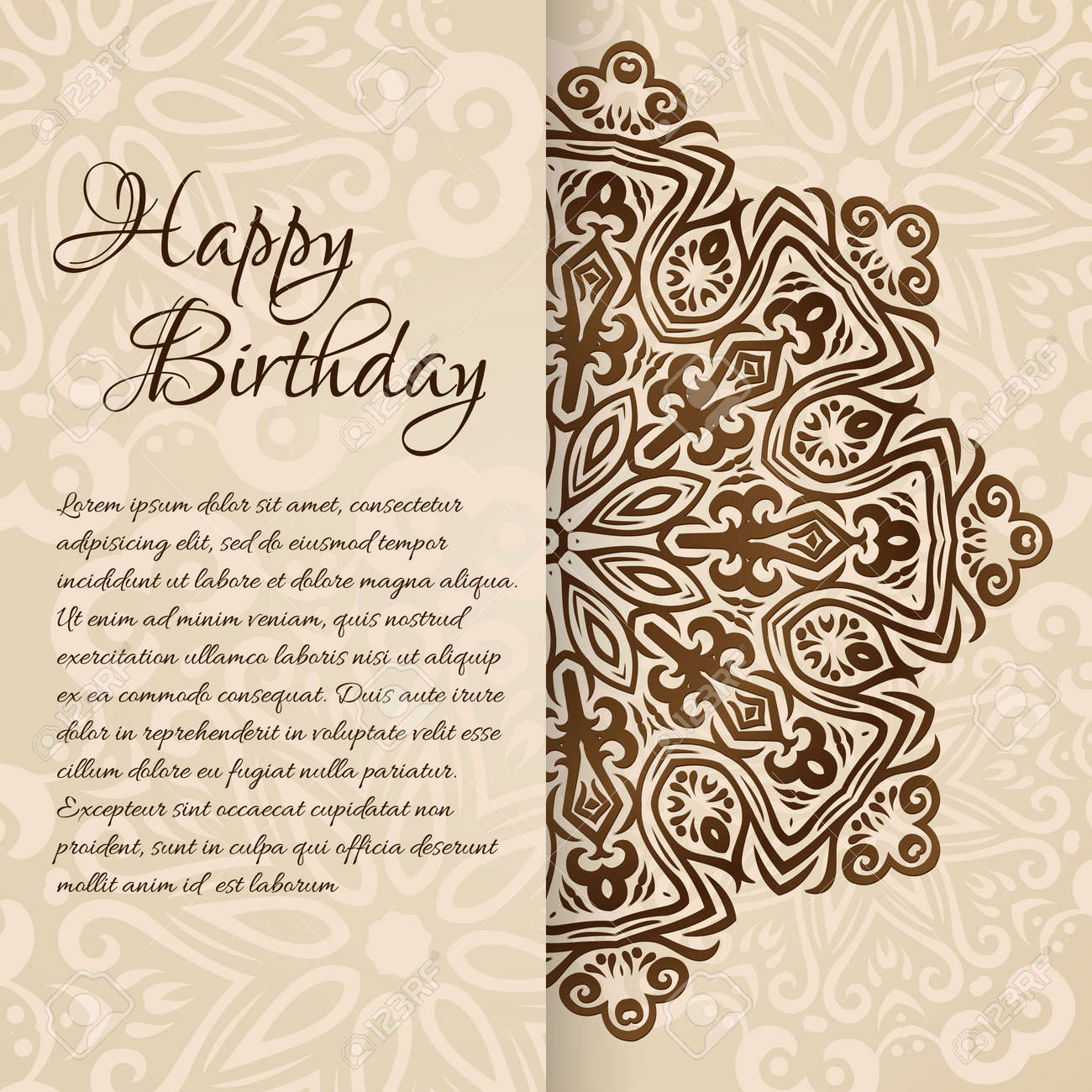 Lacy Vector Wedding Card Template Romantic Vintage Wedding ...
