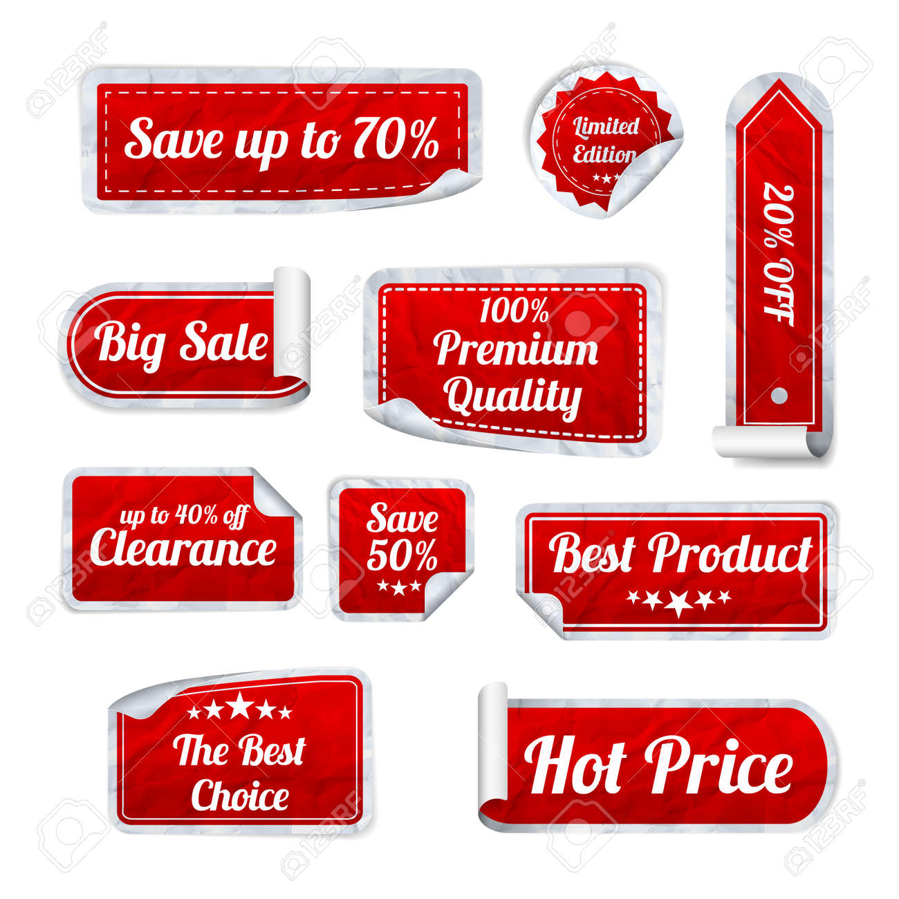 Set Of red crumpled paper SALE stickers on white background. Round, square and rectangular stickers. Vector illustration - 37751162