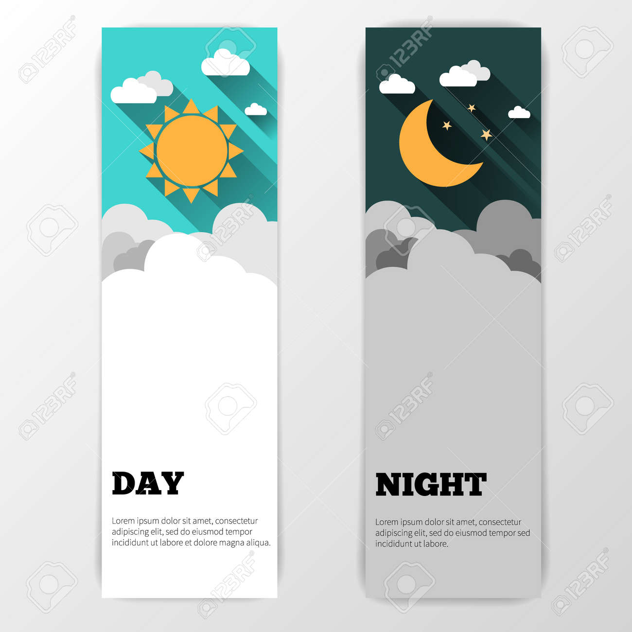 Sun, moon and stars. Day and night vector banners isolated - 38960078