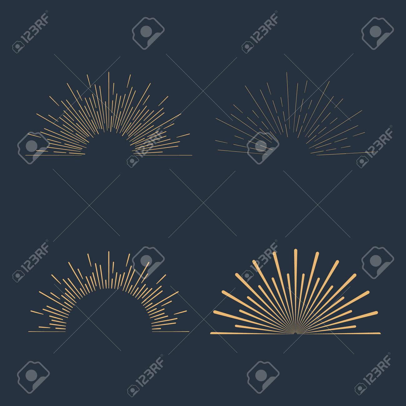 Set of gold vintage linear sunbursts. Vector illustration - 38960081
