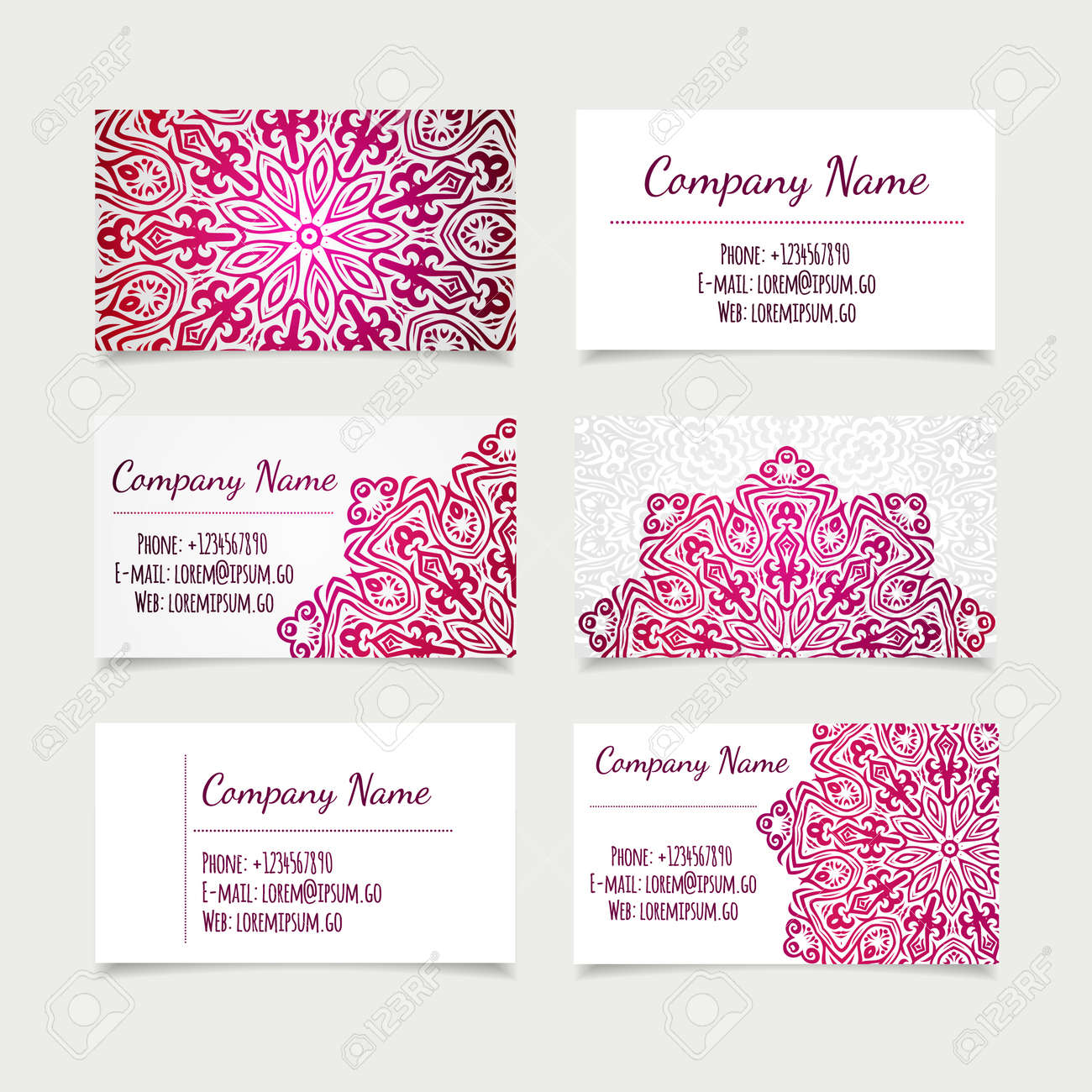 Set of retro business card templates with mandala vector set of retro business card templates with mandala vector illustration office collection stock stopboris Image collections