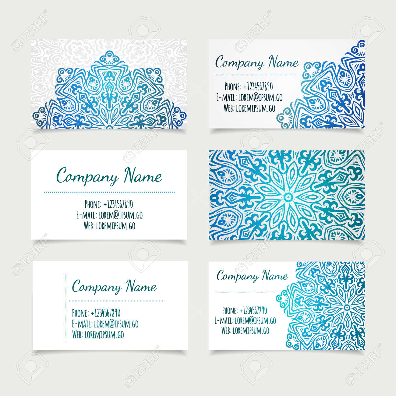 set of retro business card templates with mandala vector illustration office collection stock