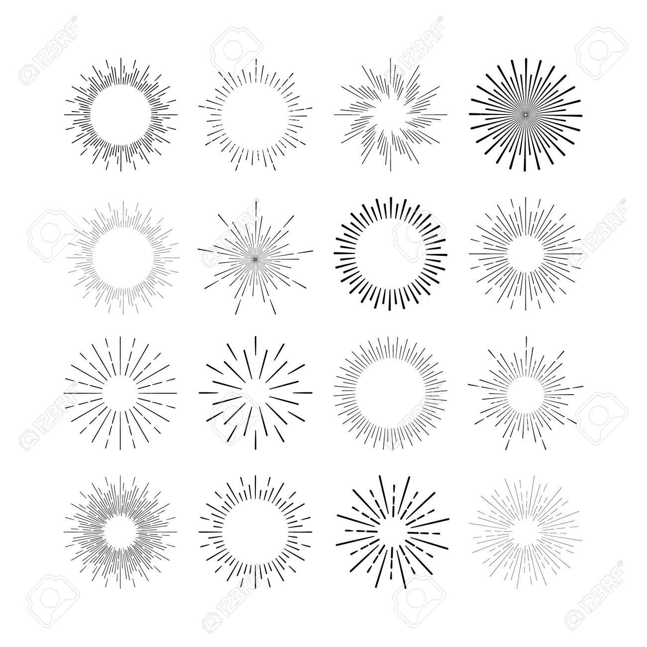 Set of vintage linear sunbursts. Vector illustration - 39711379