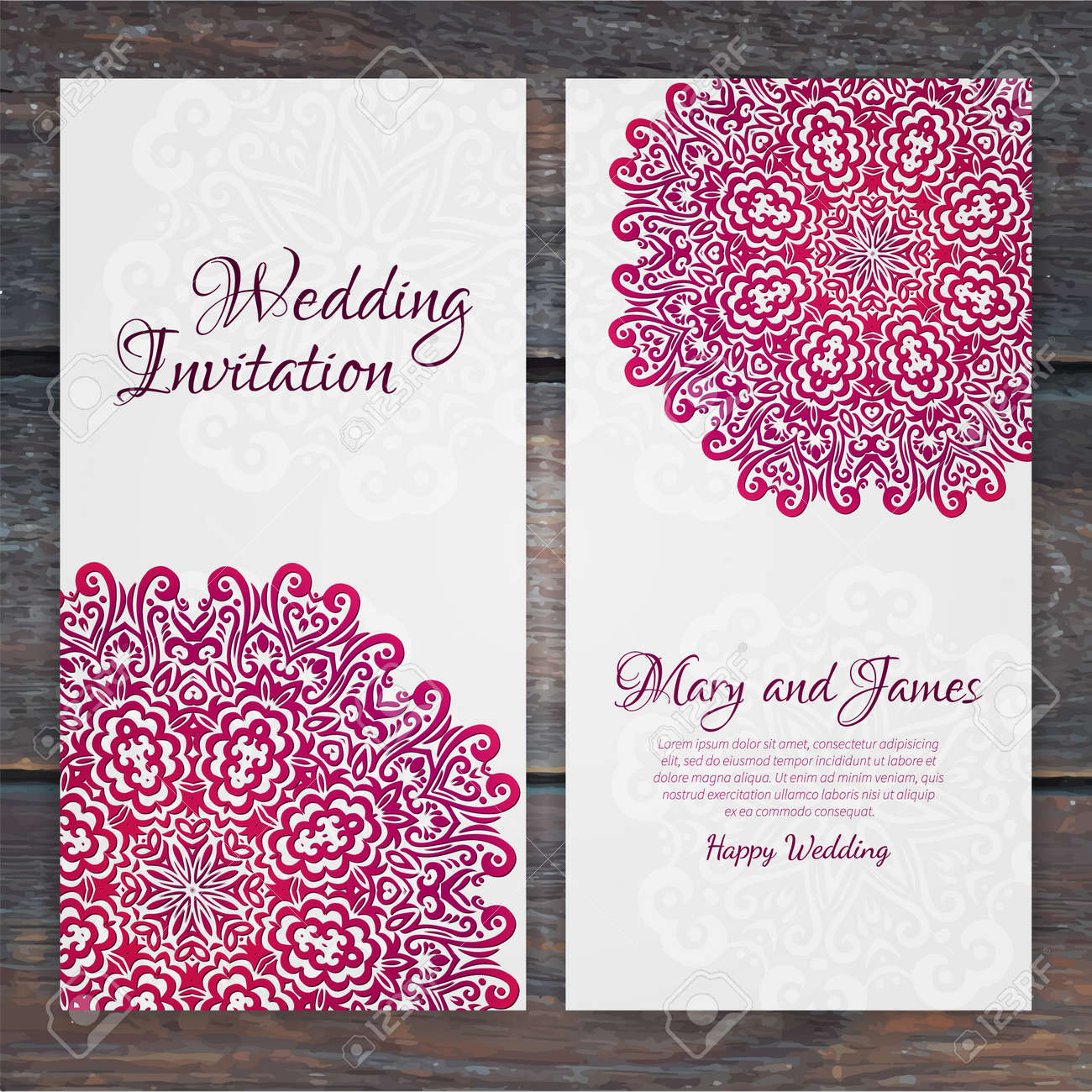 Lacy vector wedding card template romantic vintage wedding lacy vector wedding card template romantic vintage wedding invitation abstract circle floral ornament stopboris Images