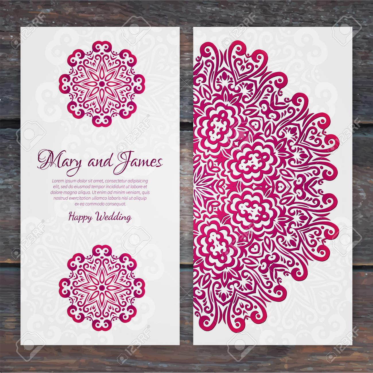 Lacy Vector Wedding Card Template Romantic Vintage Wedding